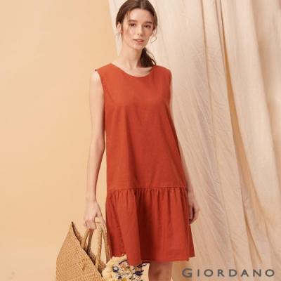 GIORDANO 女裝自然棉麻系列無袖連身裙-25 夕陽紅
