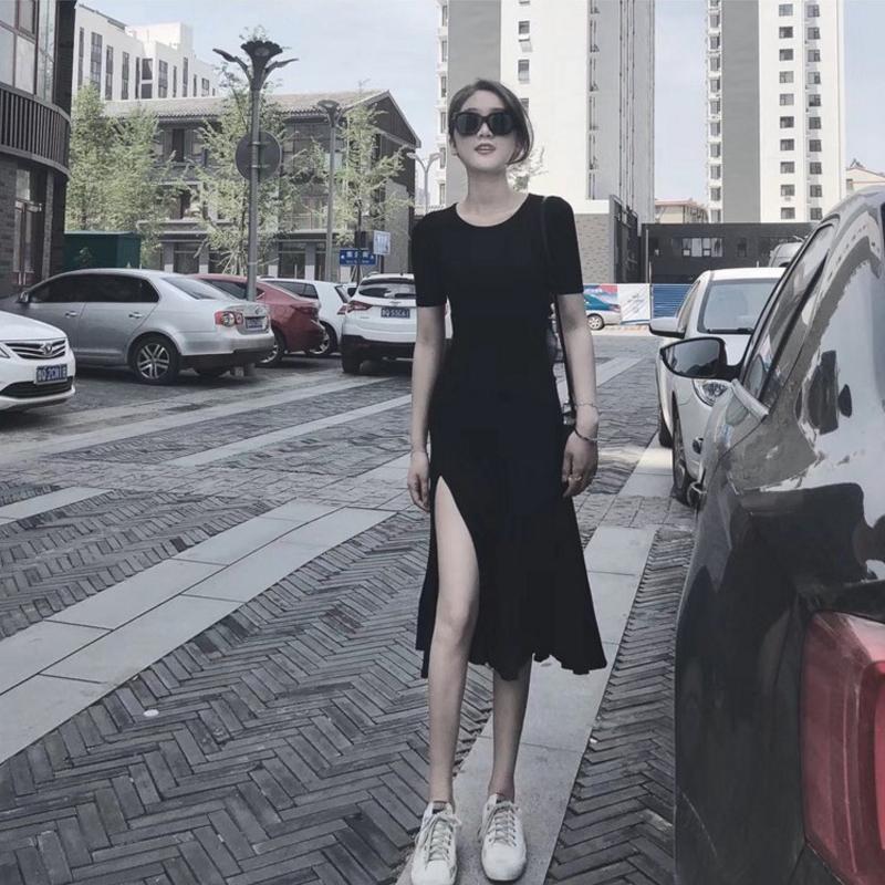 胖MM夏季新款韓版復古性感開叉中長款連衣裙修身顯瘦赫本小黑裙夏