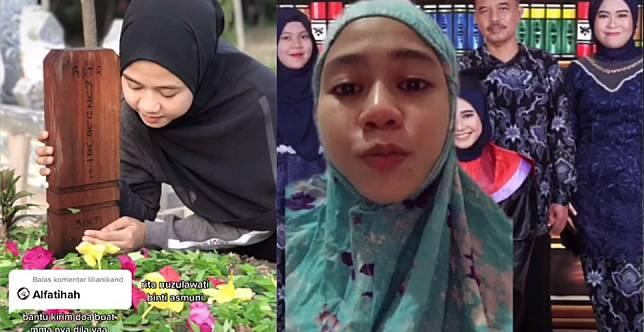 Cerita sedih cewek masukkan foto almarhumah ibu ke foto wisudanya. (Foto: Video TikTok)