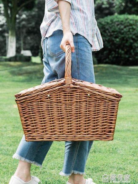 摩登主婦 藤編手提戶外野餐籃郊游水果籃子野炊野營瓜果盤收納筐