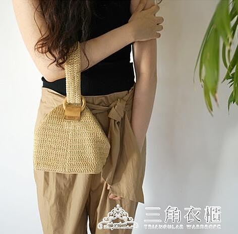 韓國包包圓環扣可愛編織籃子手拎包小方包草編包