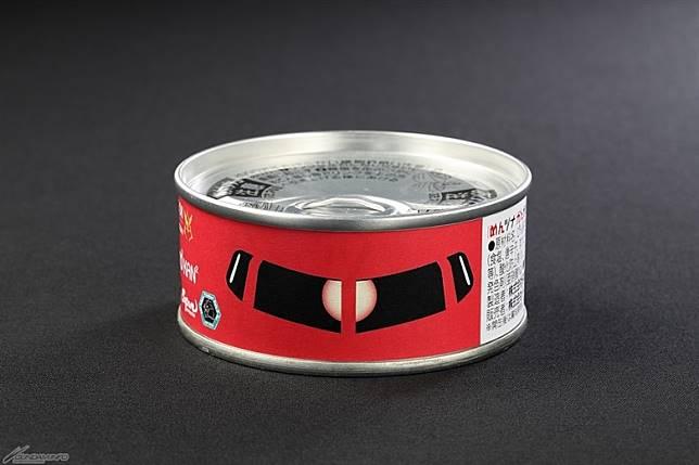 「明太子鮪魚罐頭」上都印上了自護MS的「獨眼」特徵。售價:486日圓(約HK$35)(互聯網)