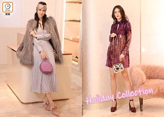 左:KATE SPADE香檳色頭巾、灰色毛毛大衣、淺灰色珍珠鏈圖案連身裙、Andi紫色閃亮皮革手袋、粉紅色高踭鞋/右:漸變紫色閃片連身裙、Nicola Twistlock銀色閃亮皮革手袋(張錦昌攝)
