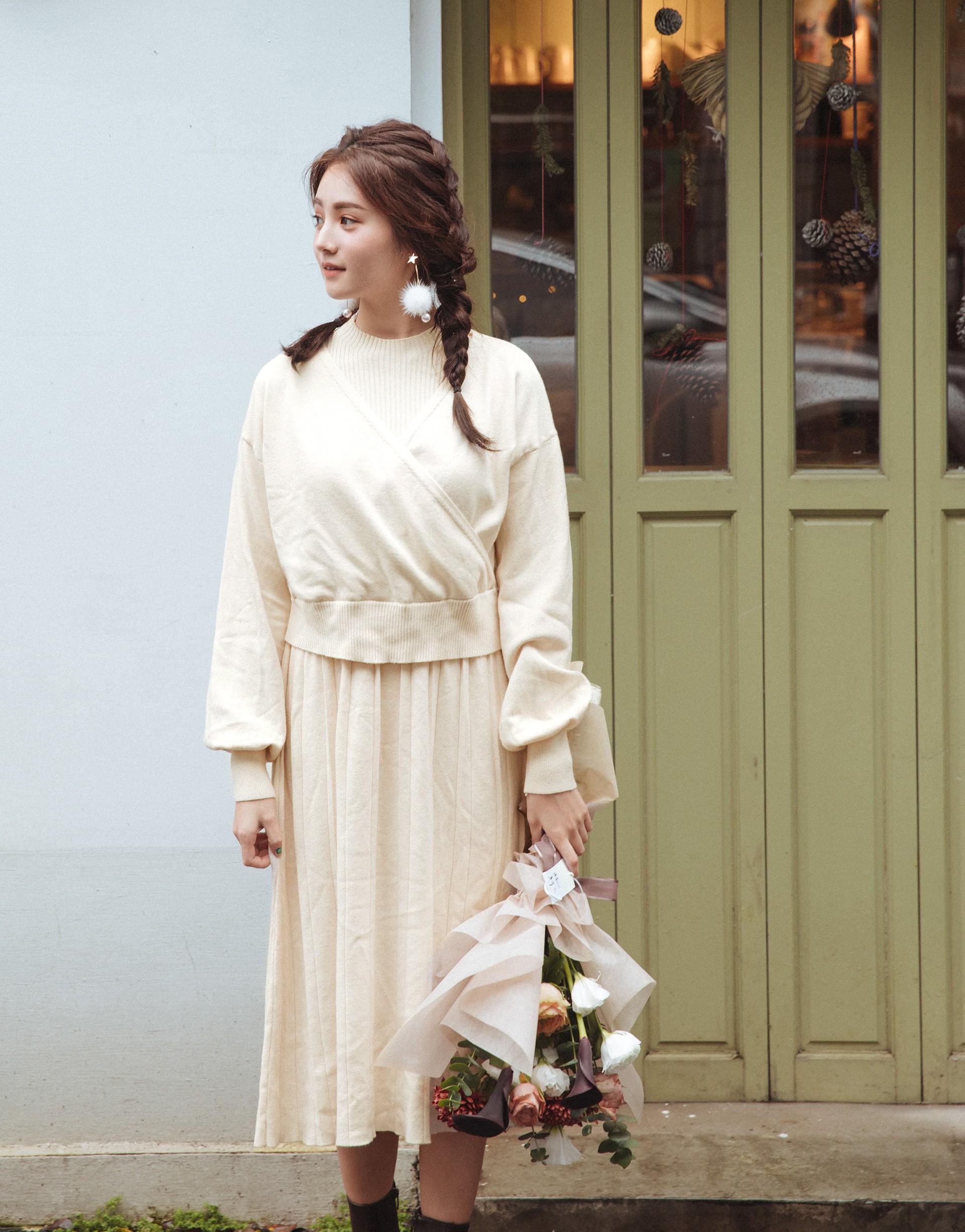 PAZZO+兩件式無袖高領針織洋裝罩衫套裝