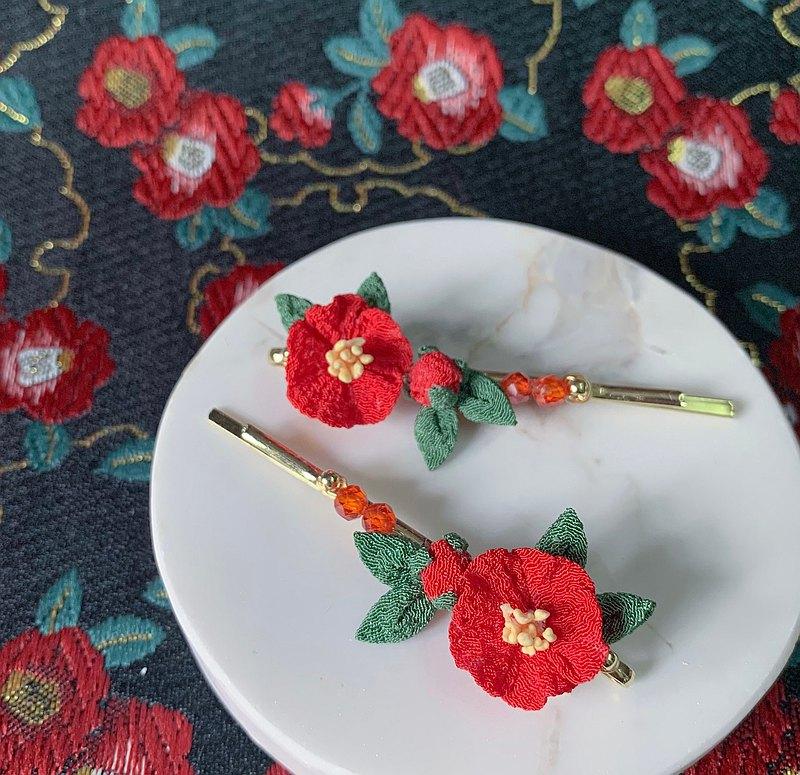 細工花髮飾 / 和風布花髮飾 / 全人手製作 / 日本傳統技法 / 椿花 / 山茶花 / 髮夾