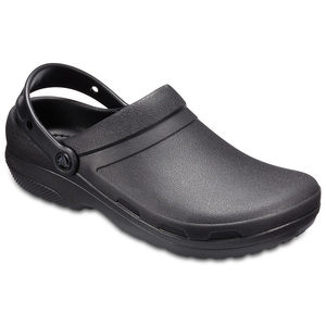 Crocs Lok 防滑鞋底。包趾設計保護足部免受潑濺。加強足弓支撐,蹠骨部位加厚,鞋床貼合腳型。後跟加高,以符合工作場所的標準,並保護足部。全塑膜,容易用肥皂和清水清潔。Cros經典舒適,獨有Cro
