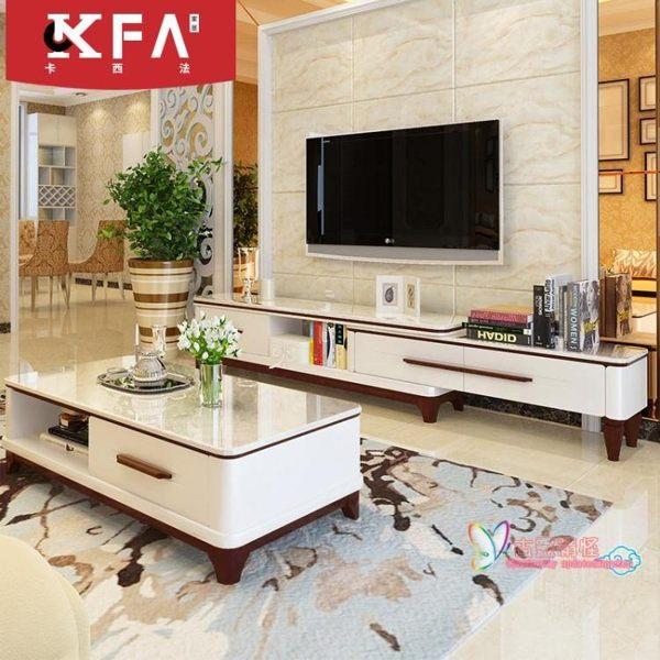 大理石電視櫃茶幾組合整體現代簡約可伸縮北歐電視機櫃客廳小戶型