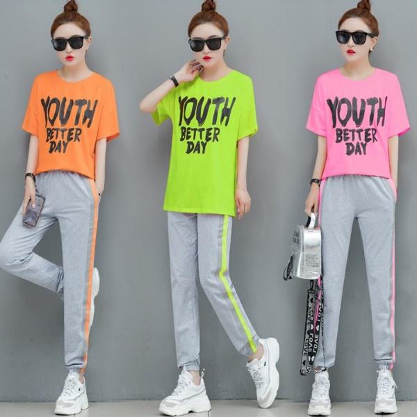 M-3XL韓版高彩度YOU短袖T恤+側邊線條顯瘦長褲(兩件式運動套裝)3色-優美依戀
