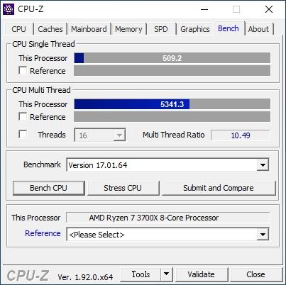 在CPU-Z處理器效能測試中,單執行緒可達509.2分,多執行緒則是有5341.3分。