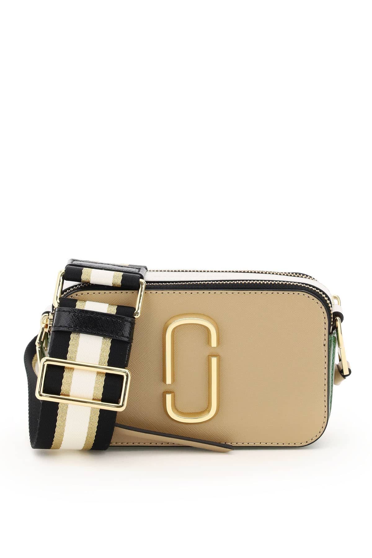Marc Jacobs The Snapshot small camera bag crafted from two-tone saffiano leather with two independen