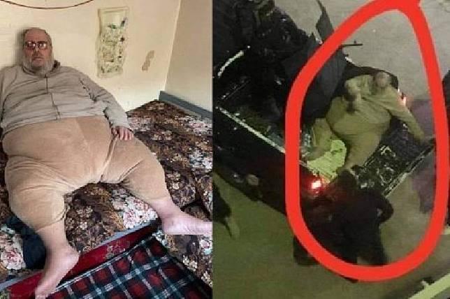 Pemimpin ISIS Abu Abdul Bari dengan berat 136 kilogram tak muat diangkut di mobil polisi Irak.  Sumber: Middle East Monitor