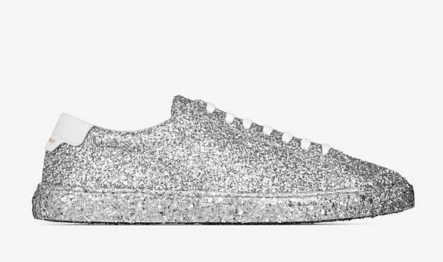 SAINT LAURENT Andy Low Top Sneakers in Silver Glitter(互聯網)