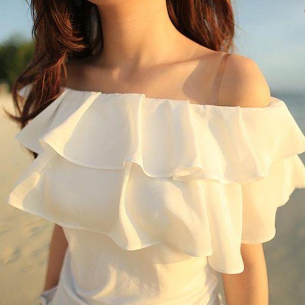 蕾絲雪紡衫 2019夏季性感露肩白色一字領上衣荷葉邊襯衫
