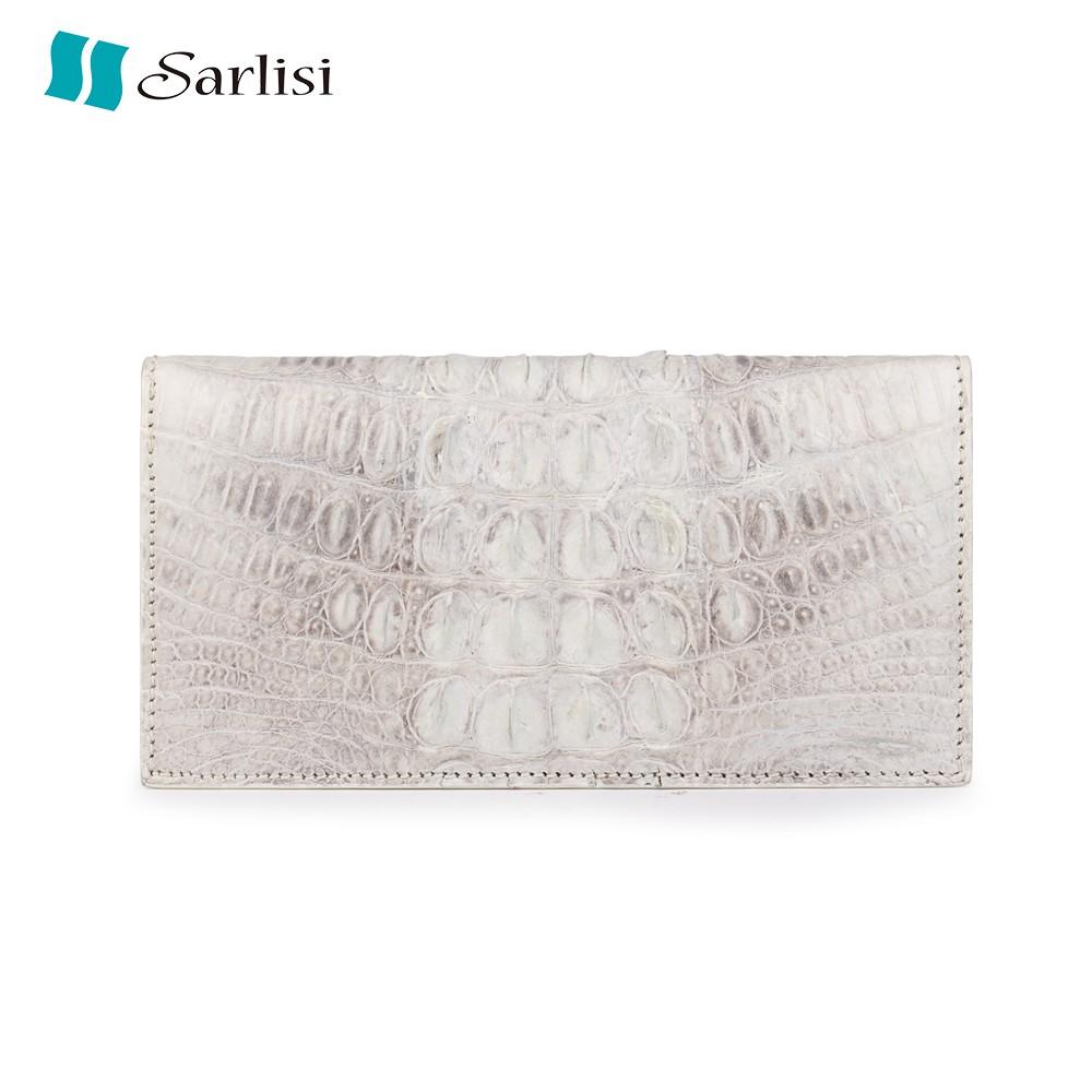 【Sarlisi】輕奢真皮鱷魚皮長夾皮夾西裝夾長款錢包 瑪雅白色 (全網獨家)