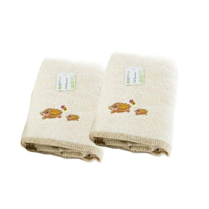 【台灣興隆毛巾】繡山豬有機棉浴巾 單入