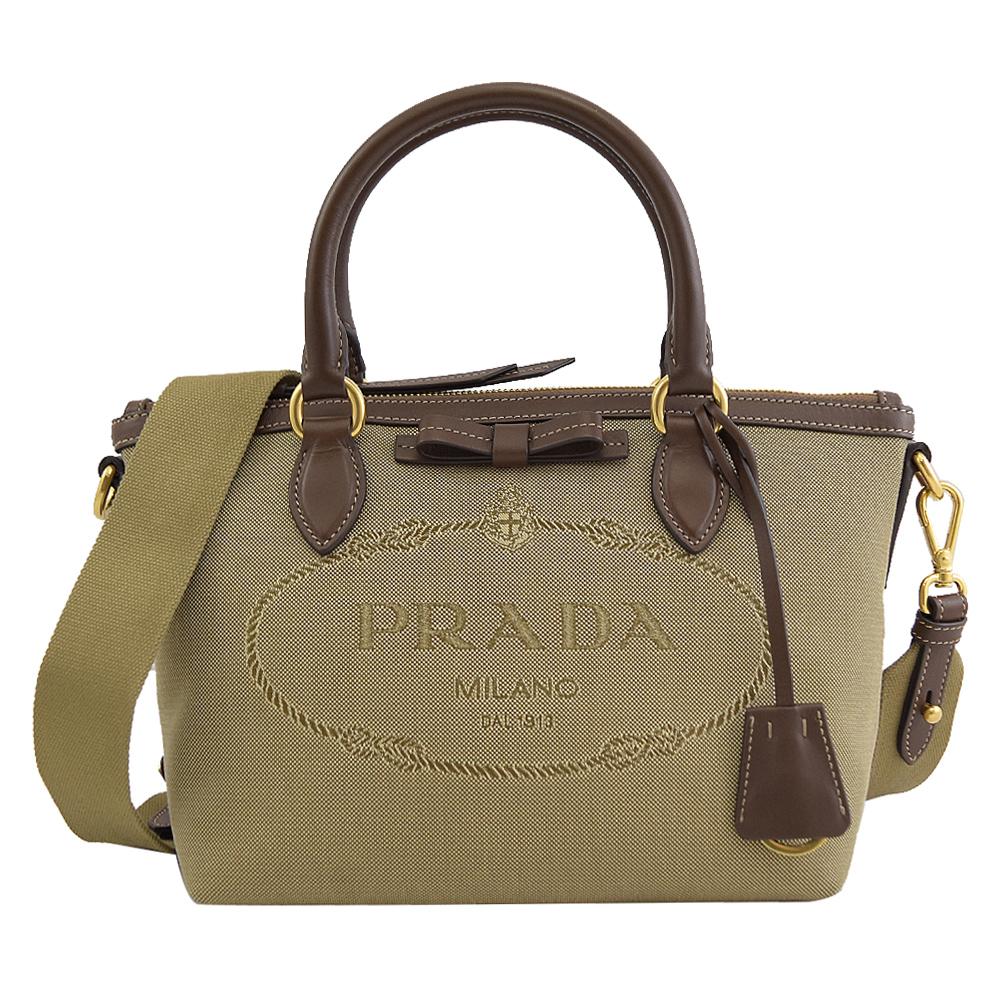 PRADA 專櫃商品 1BA111 復古大LOGO帆布皮飾邊手提兩用包.駝/咖