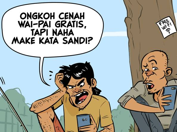 Kartun: Katanya wi-fi gratis, kok pakai password