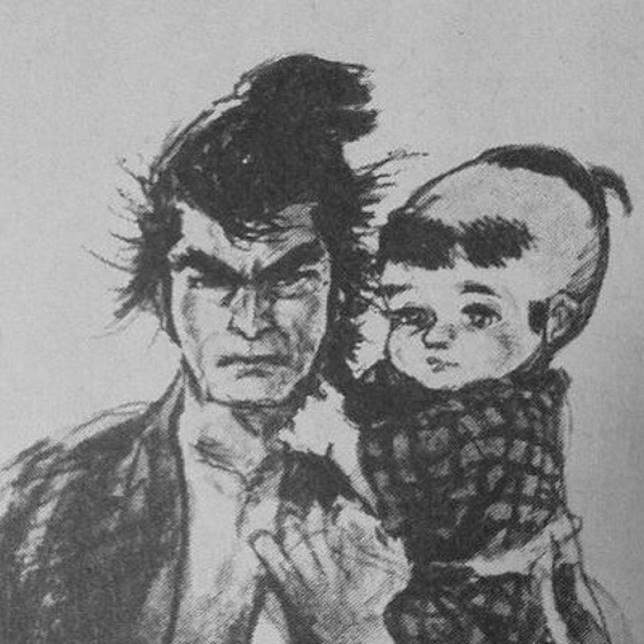 《帶子雄狼》中拝一刀推着大五郎的嬰兒車,更是深入人心。(互聯網)