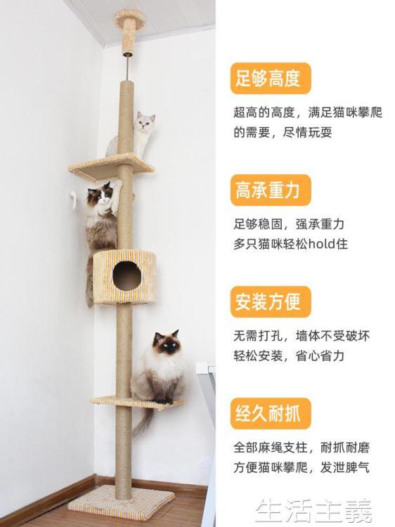 貓跳台 小戶型頂天立地通天柱貓咪爬架樹高貓架實木 貓窩貓樹一體貓抓柱 MKS【四季小屋】