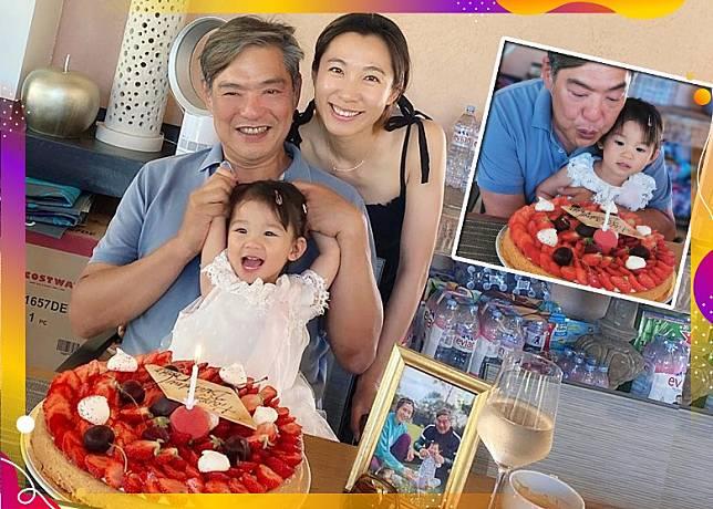 李美慧與囡囡賀老公曾文豪59歲生日。