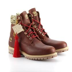 Timberland男款深咖啡色剪紙圖騰6吋靴A1KZI715