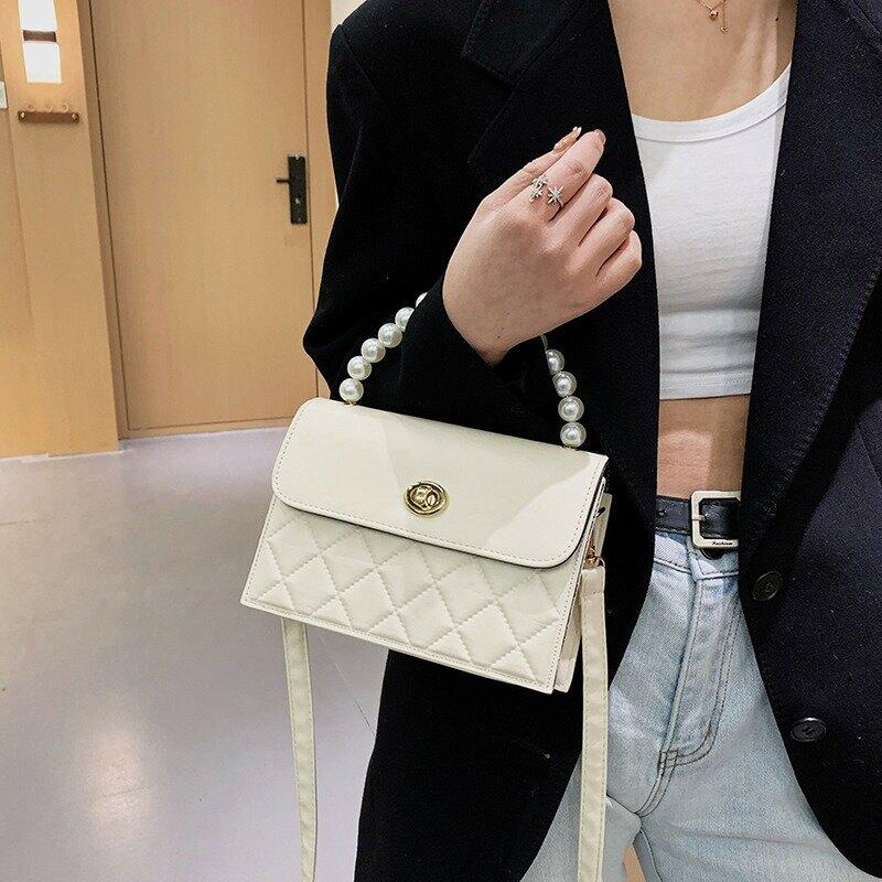 上新復古包包女2021新款潮時尚質感單肩手提包簡約ins菱格斜挎包