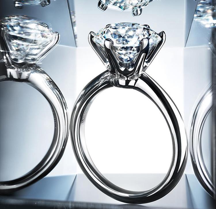 925純銀六爪戒指鍍白金 克拉鑽戒 瑞士鑽 大鑽戒婚戒包郵