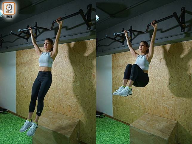 Hanging Knee Raise:雙手握緊橫杆將身體懸垂,將膝蓋慢慢收起,盡量縮至近胸口位置,然後慢慢落下並再次提升膝蓋。(胡振文攝)