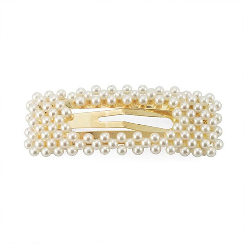 Snatch 金色方框珍珠髮夾 髮飾飾品配件編髮尖嘴夾彈簧夾抓夾邊夾