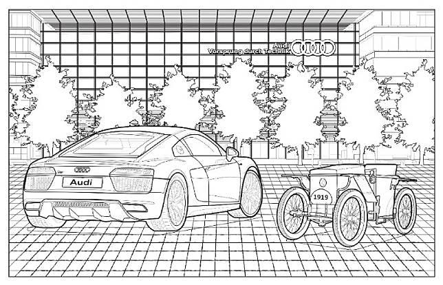 Audi於網上免費共享Audi Collection填色冊,讓大家下載和列印,鼓勵大家齊齊留家抗疫。(互聯網)