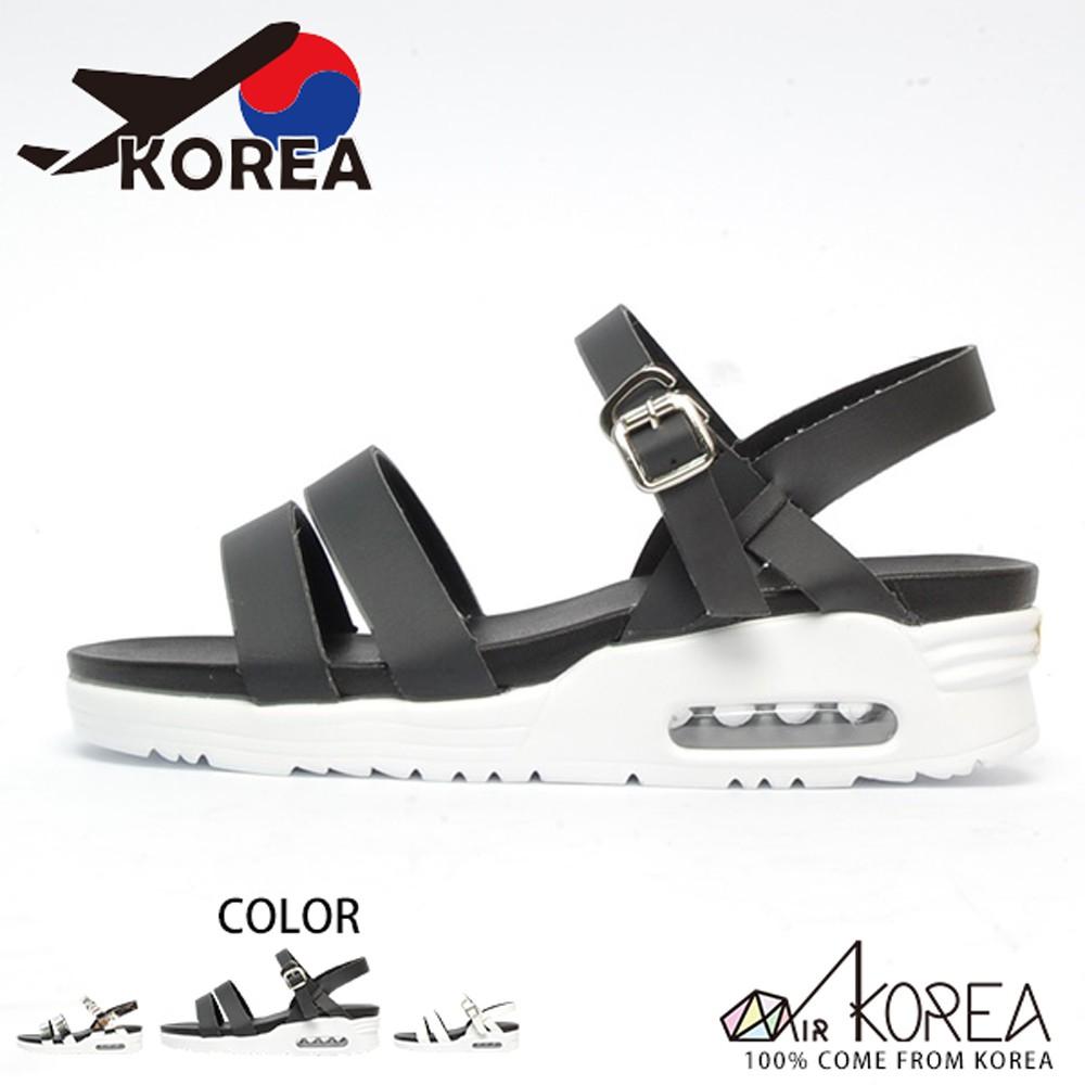【AIRKOREA】韓國空運皮革質感氣墊美體增高涼鞋 黑 -現貨+預購(5982-0042)