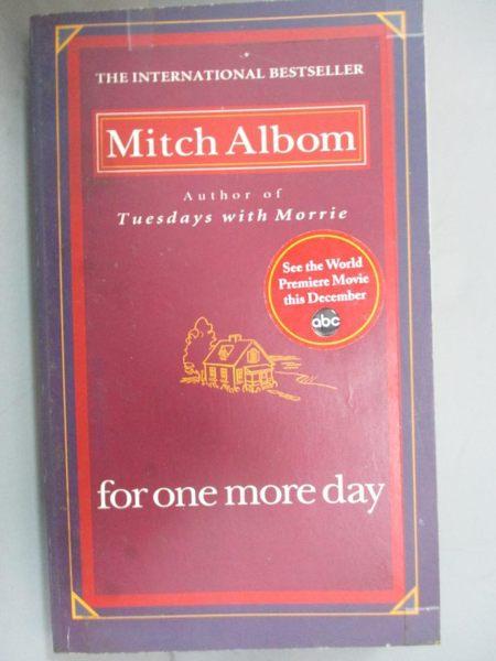 【書寶二手書T1/原文小說_LIK】For One More Day_MITCH ALBOM