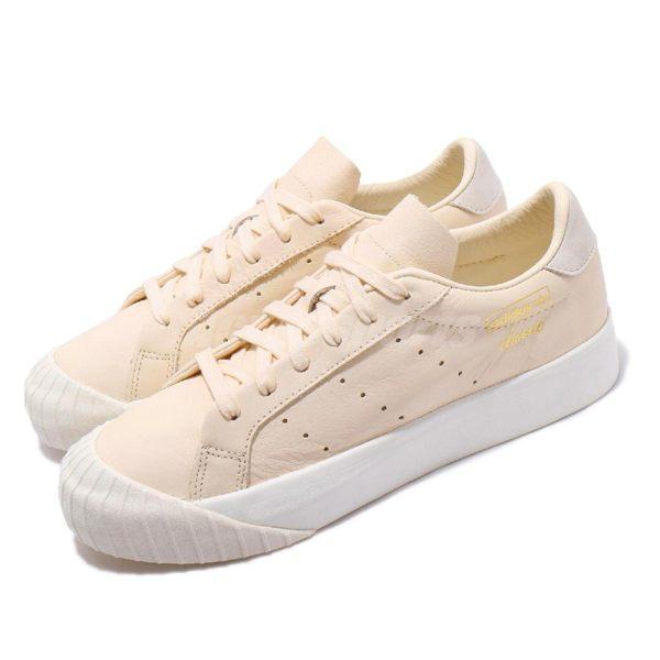 adidas 休閒鞋 Everyn W 米白 金 復古奶油底 金標 厚底 餅乾鞋 基本款 女鞋【PUMP306】 CM8408
