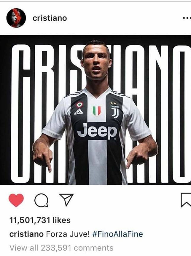 Cristiano Ronaldo berjersey Juventus cetak rekor baru di Instagram