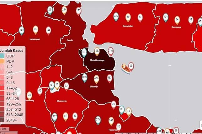 Dalam peta sebaran Covid-19 di Jawa Timur, Kota Surabaya terlihat berwarna hitam sejak empat hari terakhir. (Tangkapan layar)  Artikel ini telah tayang di Kompas.com dengan judul