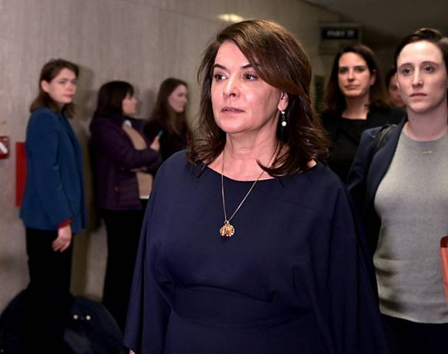 Actress Annabella Sciorra leaves the courtroom in Manhattan Criminal Court, on January 23, 2020 in New York City.