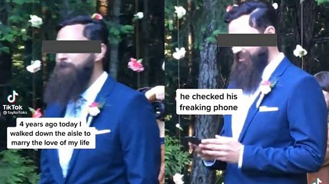 Cek Ponsel Saat Pengantin Perempuan Berjalan di Altar, Lelaki Ini Diprotes (TikTok/taylorloks)