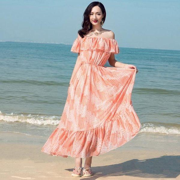 長裙波西米亞8569#(實拍)夏露肩一字領長裙海邊度假沙灘裙印花雪紡修身顯瘦(NE434)皇潮天下