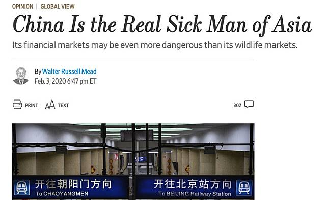 In the op-ed, written by Bard College professor Walter Russell Mead, the Wall Street Journal criticised the Chinese government's initial response to the new coronavirus outbreak