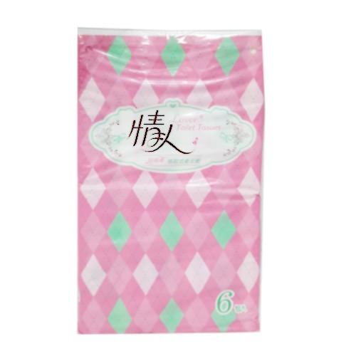 情人抽取100抽衛生紙(6包)超細柔抽取式衛生紙六包入不添加螢光劑可沖入馬桶易溶不堵塞200mmX180mm產地:台灣