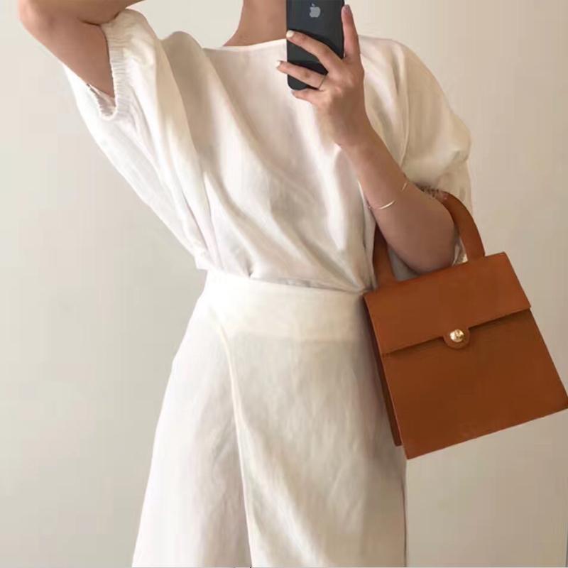韓國東大門早秋新款復古簡約女式手提包ins時尚百搭單肩斜挎女包