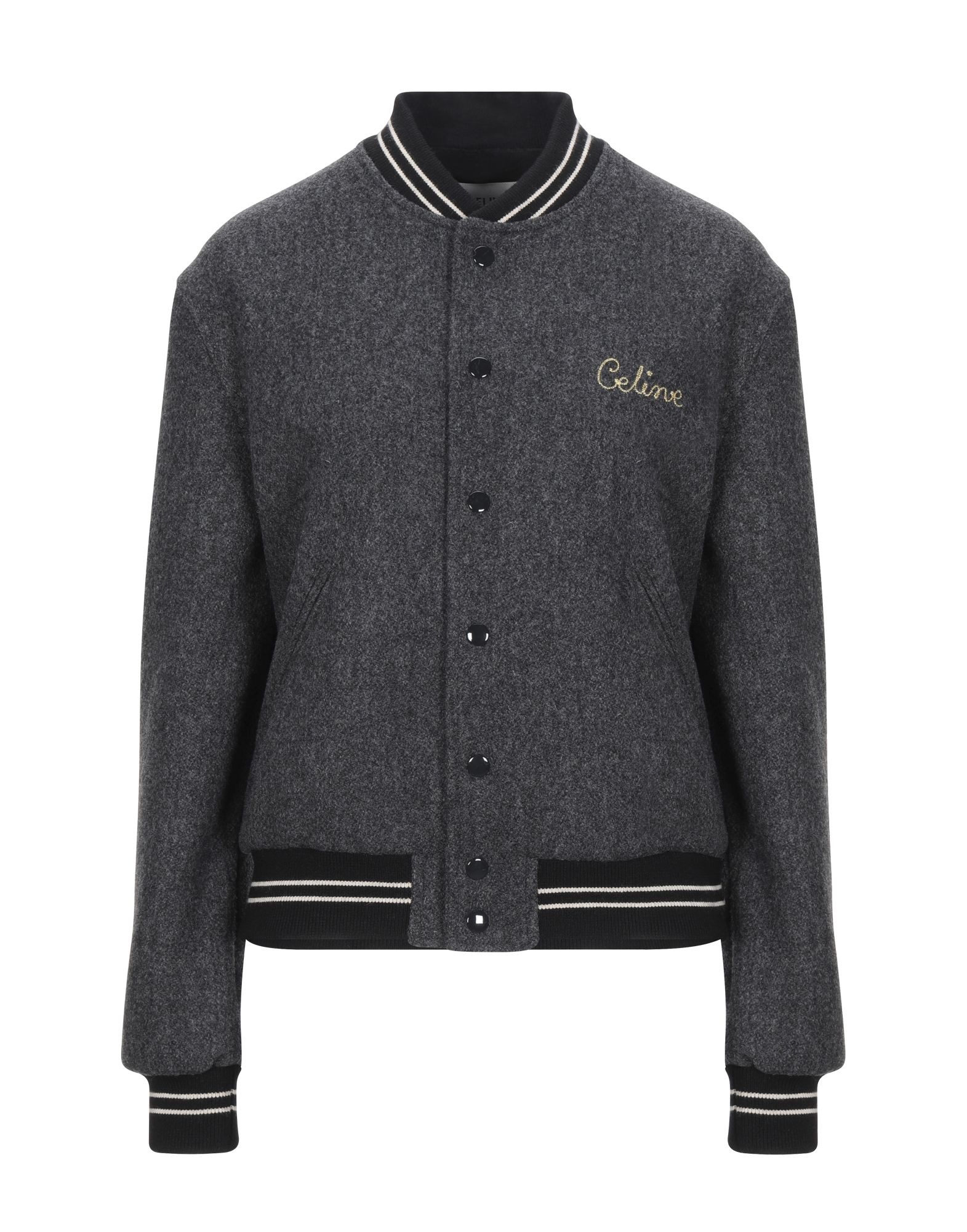 flannel, logo, solid color, single-breasted, snap buttons fastening, round collar, multipockets, lon