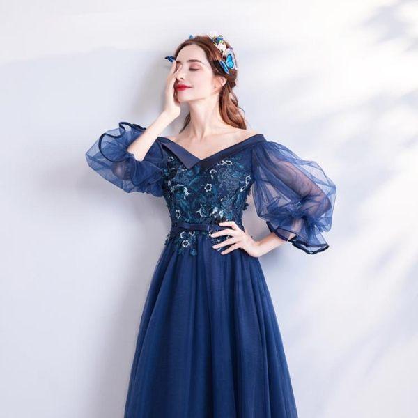 歐尚-摩登范兒藍色喇叭長袖晚宴年會舞臺演出婚紗禮服批發2299