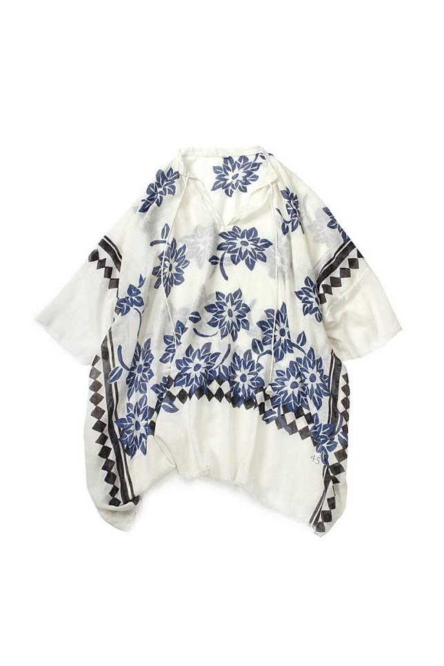 藍白色夏威夷花卉刺繡上衣(互聯網)