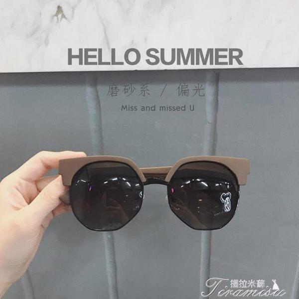 磨砂茶色潮人眼鏡圓形半框太陽眼鏡偏光大框墨鏡男女新年下殺