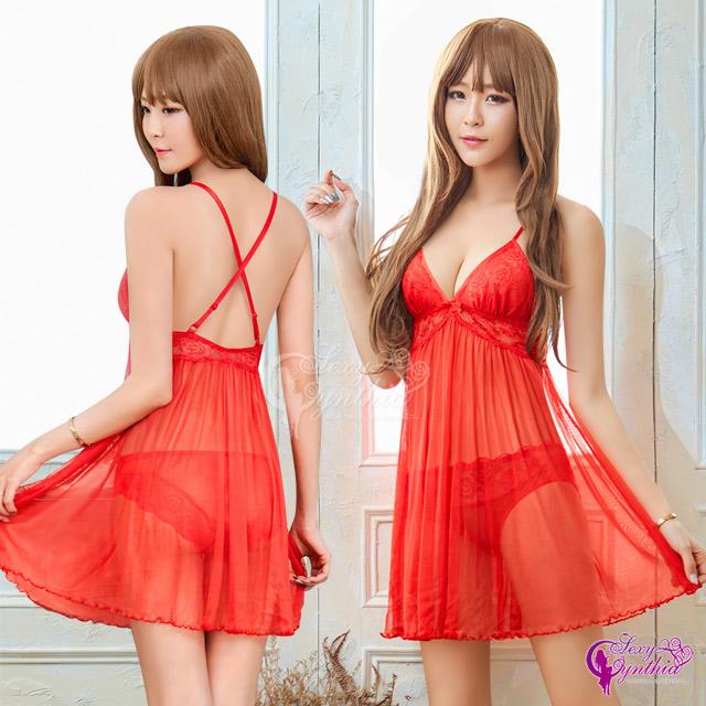 ◆ 火紅色透視網紗睡衣◆ 後背鏤空交叉緞帶設計