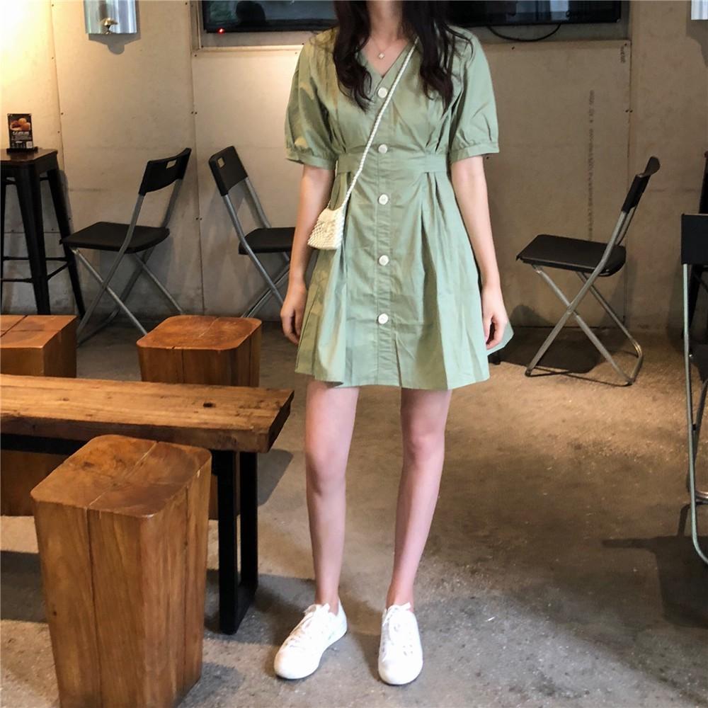 洋裝 休閒洋裝 短袖洋裝 連衣裙 連身洋裝 時尚洋裝 閨蜜裙子夏裝新款韓版寬松收腰V領簡約中長款連衣裙女潮