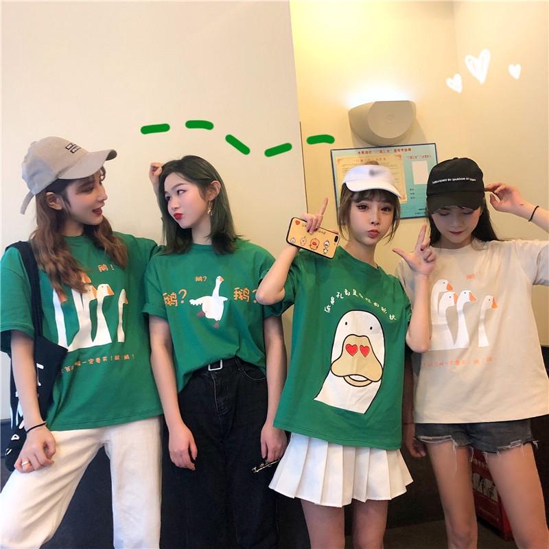 春夏新款韓版可愛卡通鵝鵝鵝印花休閑女生短袖T恤寬松閨蜜上衣