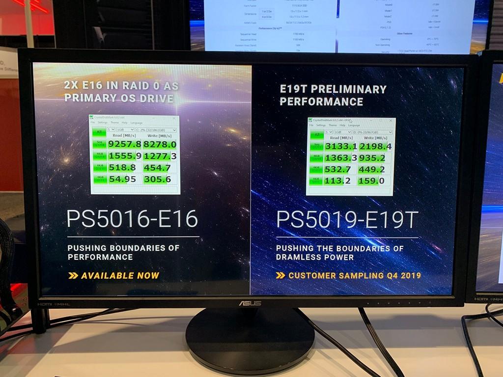 ▲ 圖右為 PS5019-E19T CrystalDiskMark 展示速度,雖然支援 PCIe 4.0 x4 介面,但因內部快閃記憶體通道數量減少,使其傳輸速度大約與現行 PCIe 3.0 x4 SSD 相當。另外也可注意到 4KB Q1T1 隨機讀取突破 100MB/s,相較左方 2 個 PS5016-E16 SSD 組成 RAID 0 快上 2 倍有餘。(圖片來源:Phison)