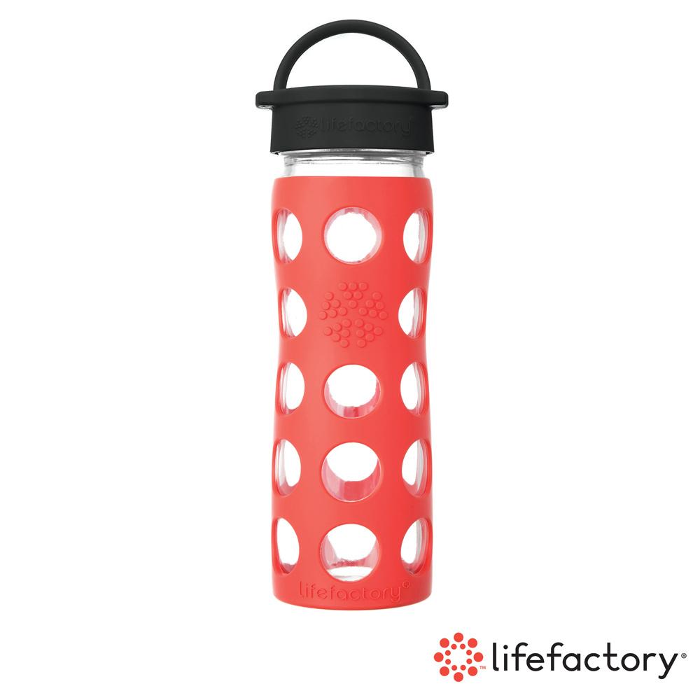 【Lifefactory】玻璃水瓶平口475ml-橘